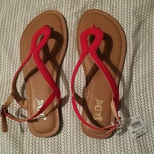 NWT. Brash Red Dressy Flat Sandals. Size 7 5.